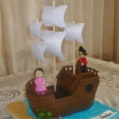 Pirate Ship Cake (30 serves) $200