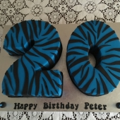 Zebra Number 20 cake (40 serves) $240