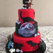 Dinosaur Cake 3 tier (50 serves) $300 - figurines not included