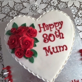 Red Roses Heart Cake (50 serves) $280