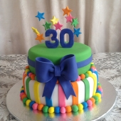 Coloured Stripes & Bow (40 serves) $200