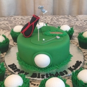 Mini Golf Cake (15 serves) $120 Cupcakes $60 per dozen