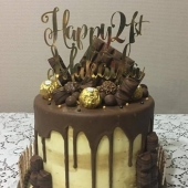 21st Drip Cake (50 serves) $290 excluding topper