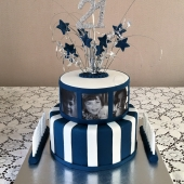 Navy & White Photo Cake (40 serves) $200