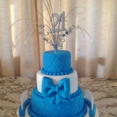 Blue Quilted 3 tier (50 serves) $300