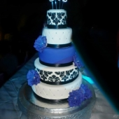 5 tier Purple & Black Wedding Cake (140 serves) $890 excluding topper