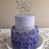 Purple Rosette Wedding Cake (40 serves) including topper $275