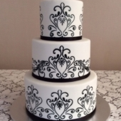 Black and White Wedding cake (50 serves) $400